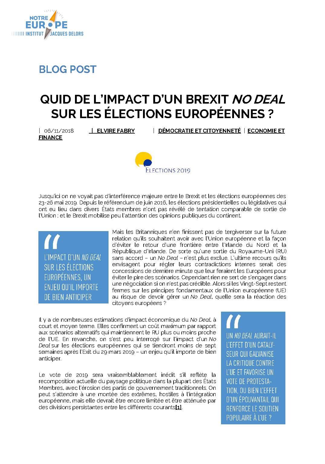 Pages de 1811 Quid de l'impact d'un Brexit No Deal sur les élections européennes - Elvire Fabry